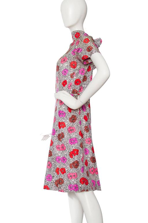 1960s Floral Chanel Haute Couture Dress 4