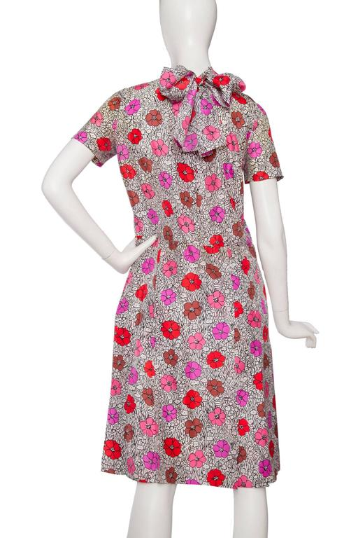 1960s Floral Chanel Haute Couture Dress 5