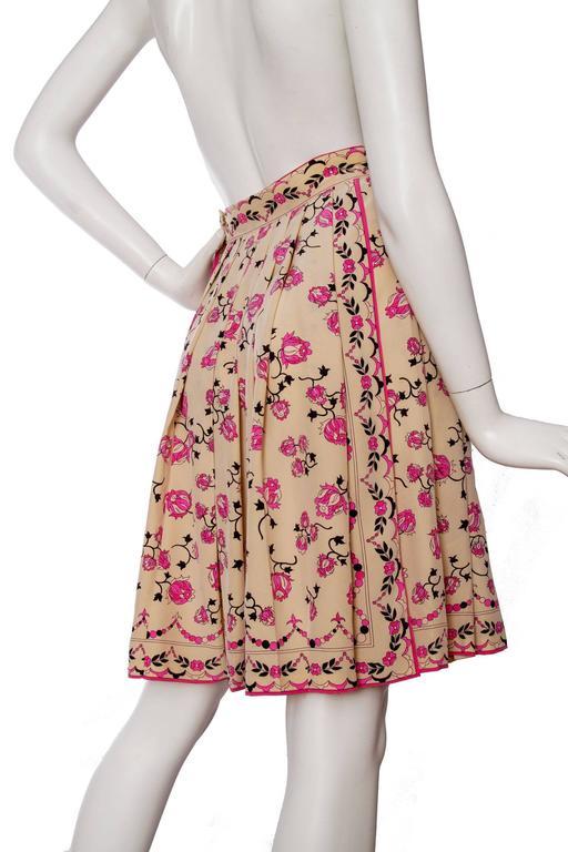 1960s Emilio Pucci Floral Print Silk Skirt 4