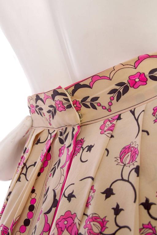 1960s Emilio Pucci Floral Print Silk Skirt 6