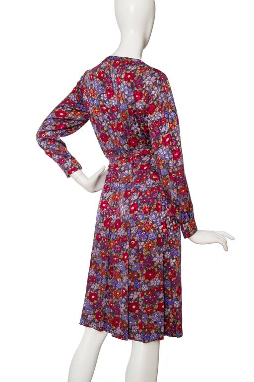 60s Chanel Haute Couture Floral Silk Dress At 1stdibs
