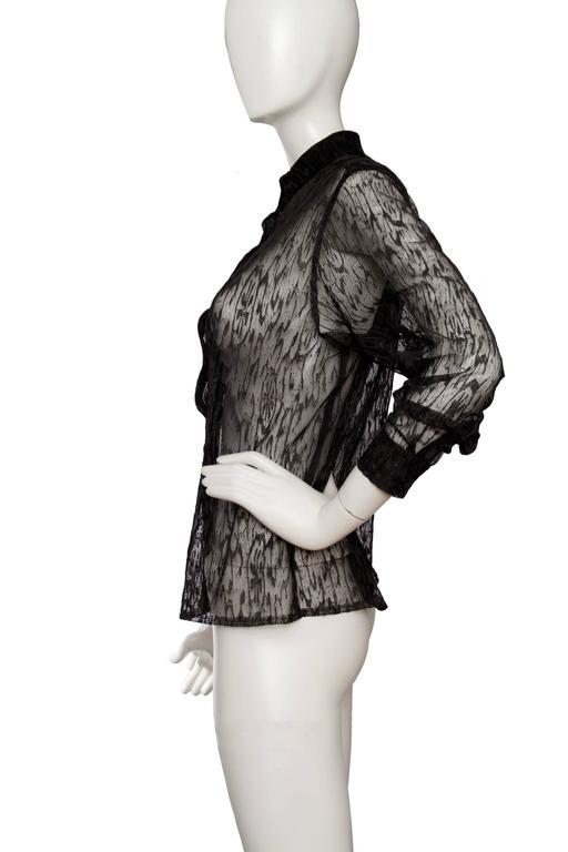 90s Alaïa Black Lace Shirt In Good Condition For Sale In Copenhagen, DK