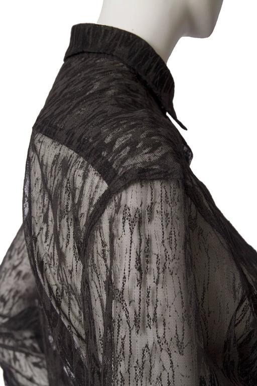 Women's 90s Alaïa Black Lace Shirt For Sale