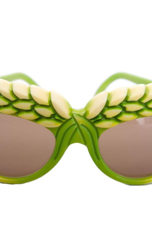 A pair of 1980s Green Isabel Canovas Sunglasses For Sale 3