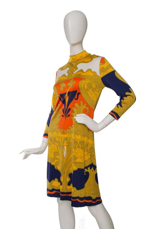 Brown 1970s Lanvin Printed Summer Dress For Sale