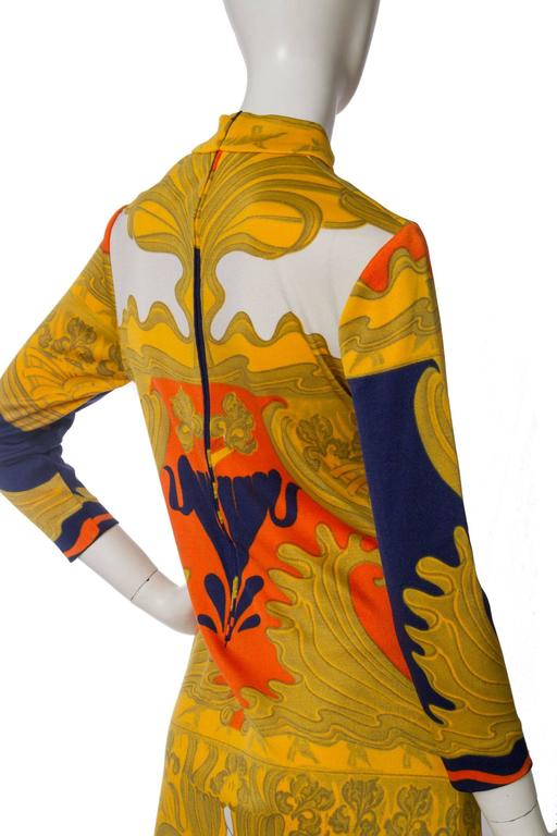 1970s Lanvin Printed Summer Dress For Sale 3