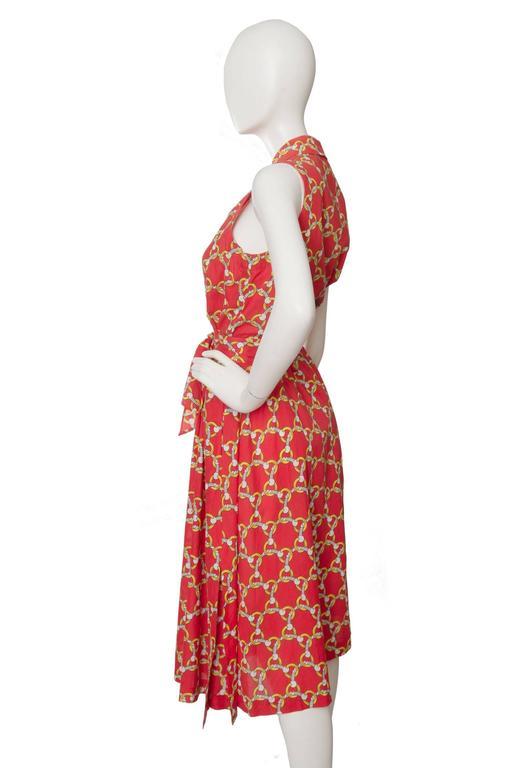 1970s Hermès Horsebit Printed Cotton Dress 4