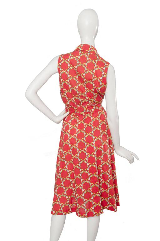 1970s Hermès Horsebit Printed Cotton Dress 5