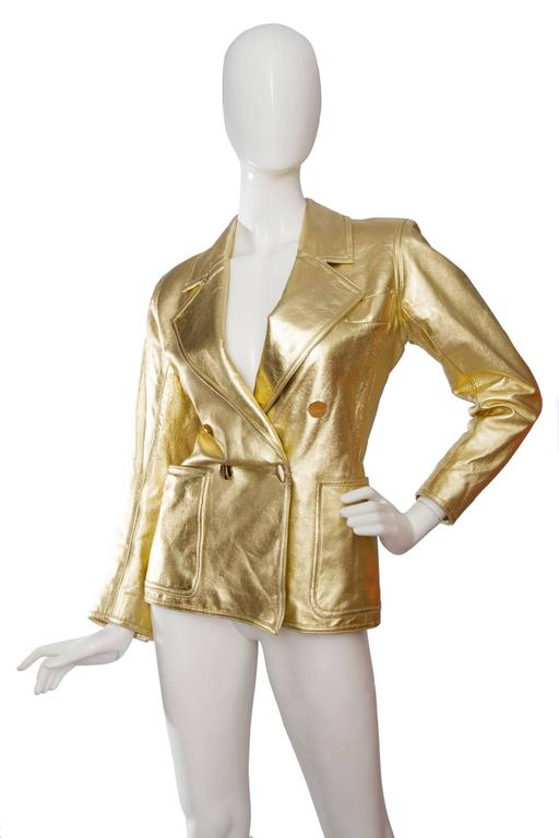 Brown 1992 Documented Yves Saint Laurent Double Breasted Gold Leather Jacket For Sale