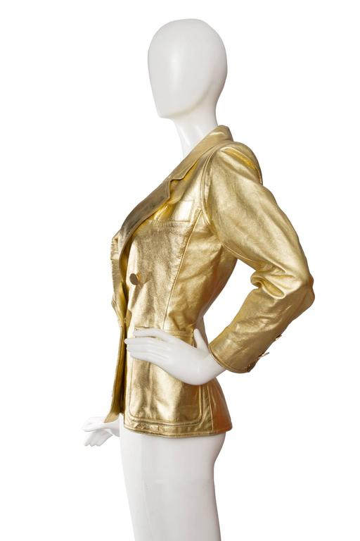 1992 Documented Yves Saint Laurent Double Breasted Gold Leather Jacket 4