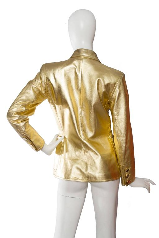 1992 Documented Yves Saint Laurent Double Breasted Gold Leather Jacket 5