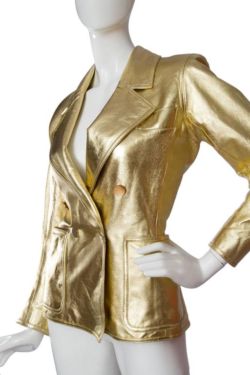 1992 Documented Yves Saint Laurent Double Breasted Gold Leather Jacket For Sale 1