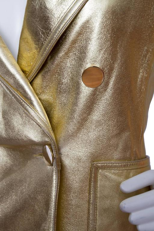 1992 Documented Yves Saint Laurent Double Breasted Gold Leather Jacket For Sale 2
