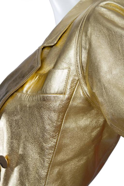 1992 Documented Yves Saint Laurent Double Breasted Gold Leather Jacket 8