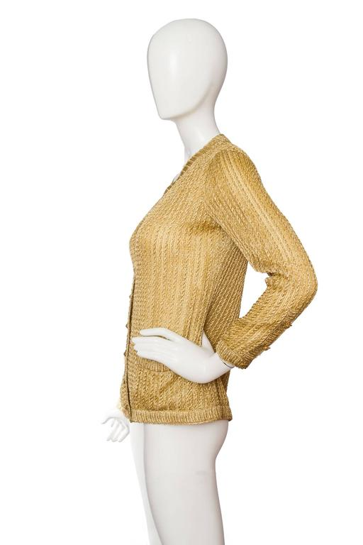 Brown 1960s Chanel Haute Couture Gold Lurex Cardigan  For Sale