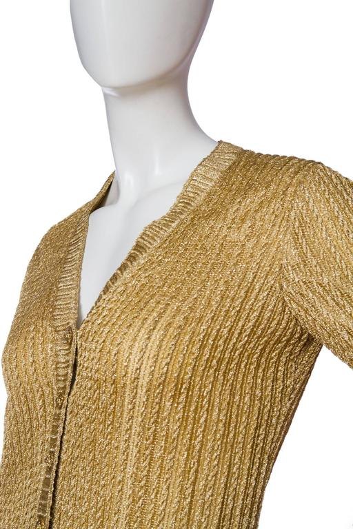 Women's 1960s Chanel Haute Couture Gold Lurex Cardigan  For Sale