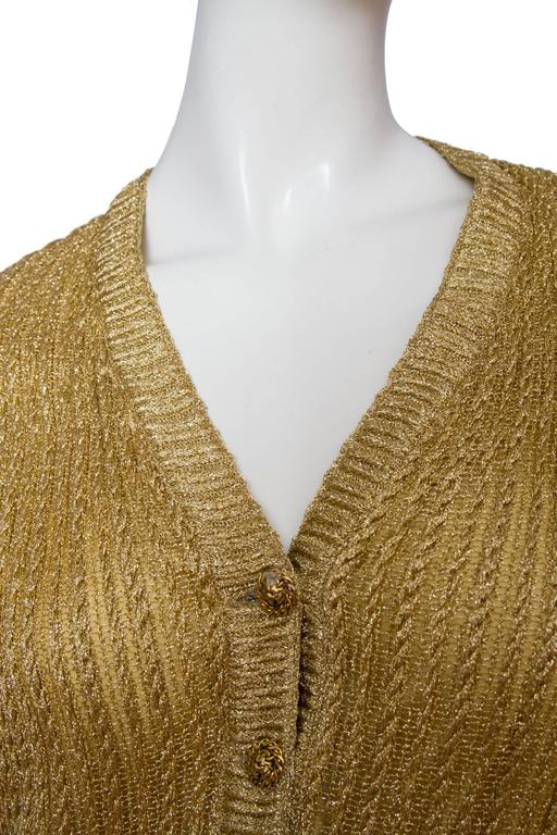 1960s Chanel Haute Couture Gold Lurex Cardigan  For Sale 1