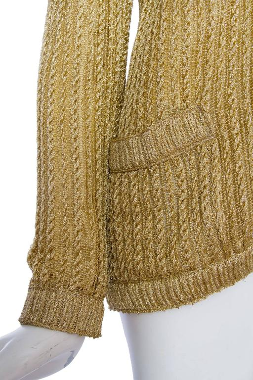 1960s Chanel Haute Couture Gold Lurex Cardigan  For Sale 2