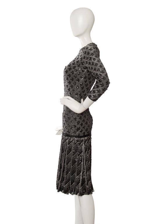 A 60s Dior Sequined Silver Lurex Cocktail Dress 4