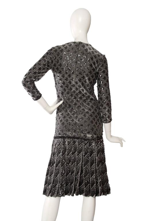 A 60s Dior Sequined Silver Lurex Cocktail Dress 5
