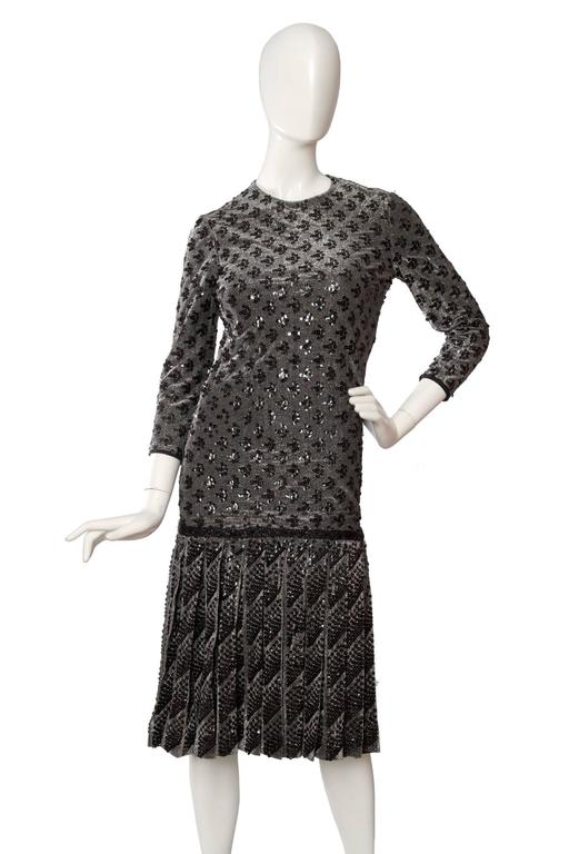 A 60s Dior Sequined Silver Lurex Cocktail Dress 3