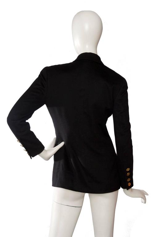 Women's 1990s Chanel Black Cashmere Blazer For Sale