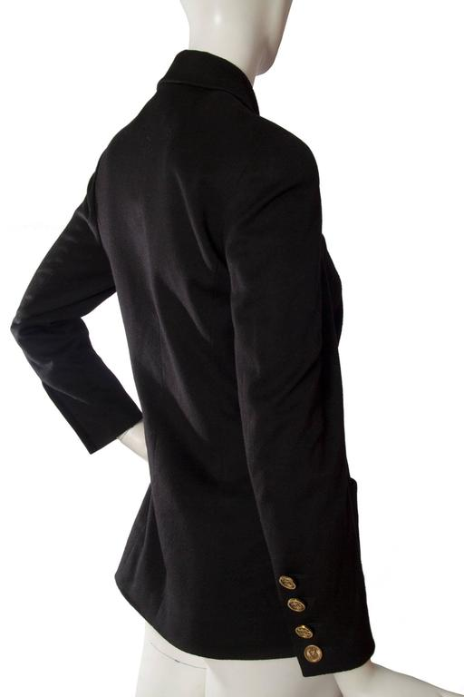 1990s Chanel Black Cashmere Blazer For Sale 1