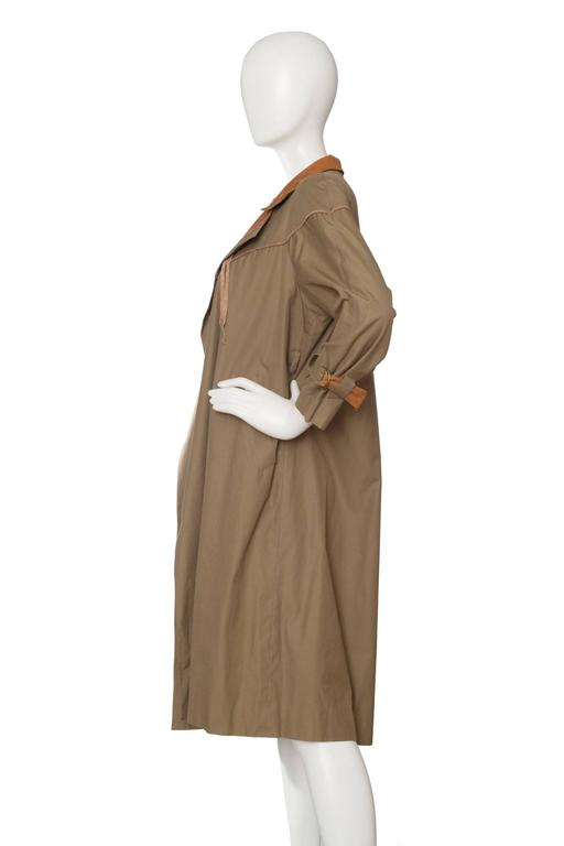 Brown 1980s Claude Montana Trench Coat For Sale