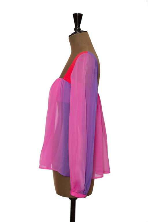 1980s Gianni Versace Couture Ombre Chiffon Blouse 3