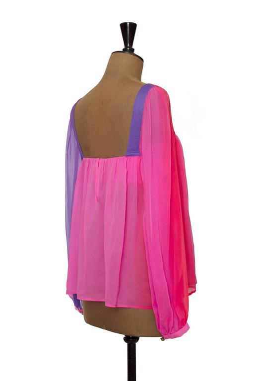 1980s Gianni Versace Couture Ombre Chiffon Blouse 5