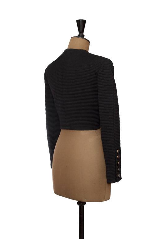 Women's 80s Yves Saint Laurent Rive Gauche Black Bolero Jacket  For Sale