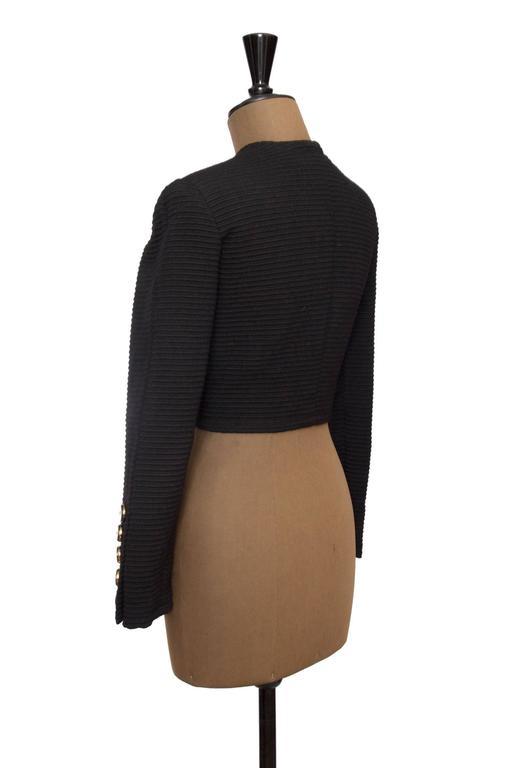 80s Yves Saint Laurent Rive Gauche Black Bolero Jacket  For Sale 1