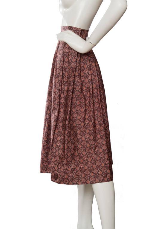 70s Yves Saint Laurent Floral Pleated Skirt In Good Condition For Sale In Copenhagen, DK