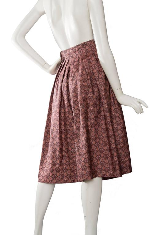 Women's 70s Yves Saint Laurent Floral Pleated Skirt For Sale