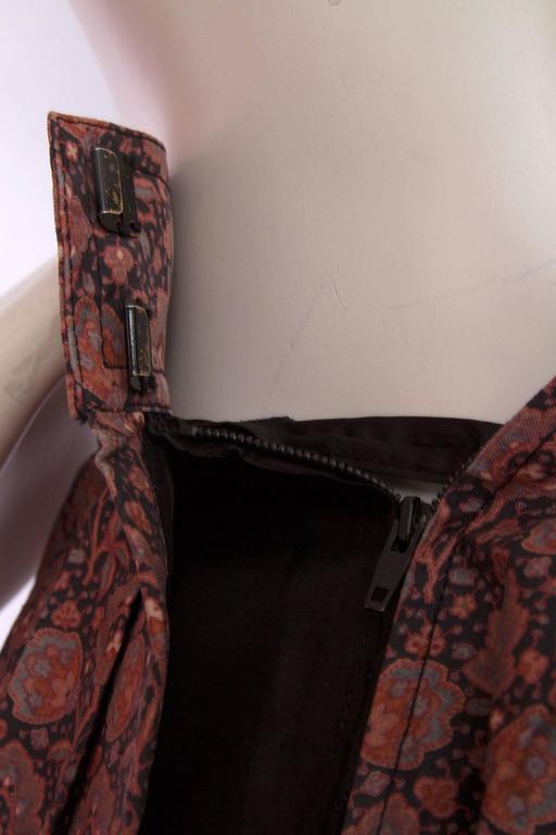 70s Yves Saint Laurent Floral Pleated Skirt For Sale 4
