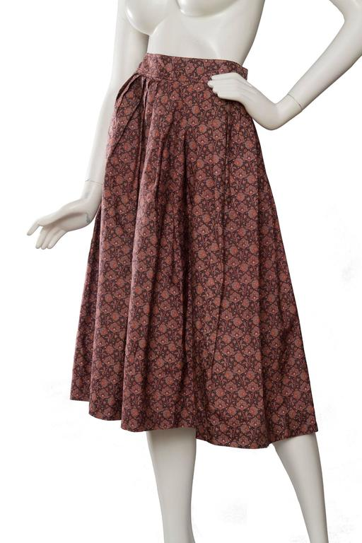 Brown 70s Yves Saint Laurent Floral Pleated Skirt For Sale