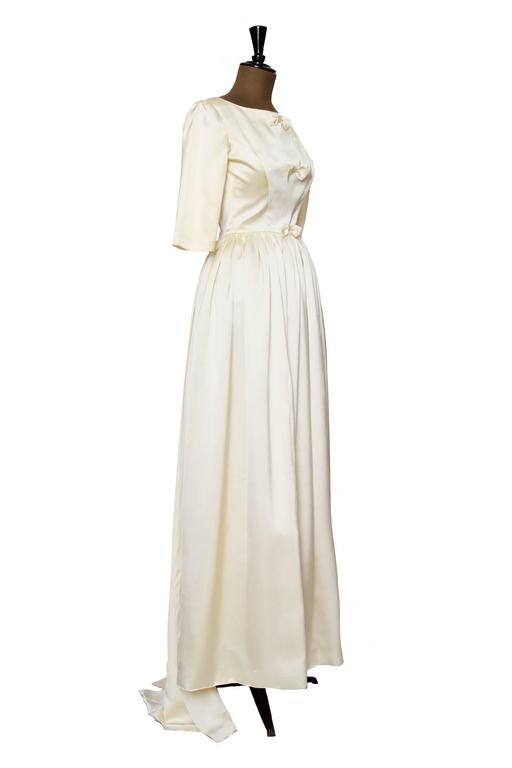 1960 Maggy Rouff Silk Wedding Gown W. Bows 2
