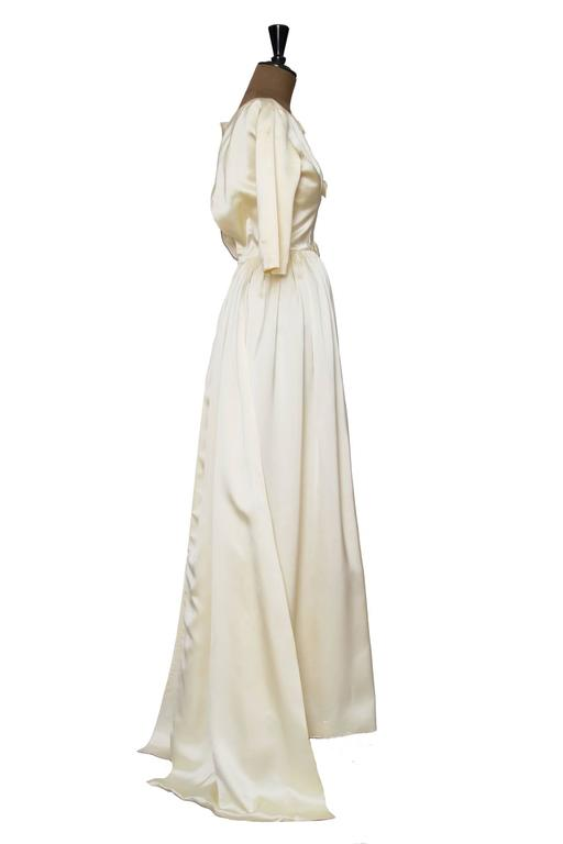 1960 Maggy Rouff Silk Wedding Gown W. Bows 3