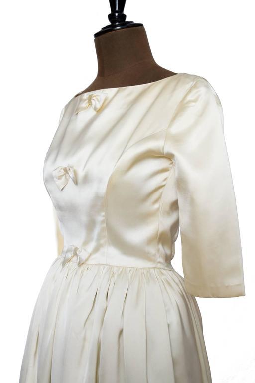 1960 Maggy Rouff Silk Wedding Gown W. Bows 6