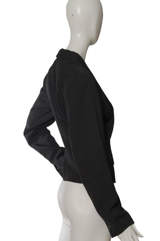 A Classic 90s Black Cropped Alaia Blazer For Sale 1