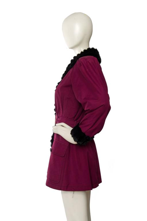 70s Yves saint Laurent Rive Gauche Purple with Fur Lining. 3