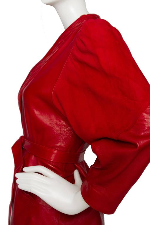 80s Bright Red Jean Claude Jitrois Leather Jacket For Sale 1