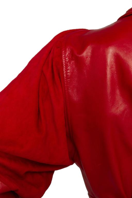 80s Bright Red Jean Claude Jitrois Leather Jacket 6