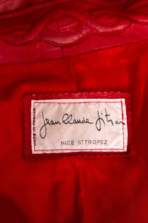 80s Bright Red Jean Claude Jitrois Leather Jacket 2