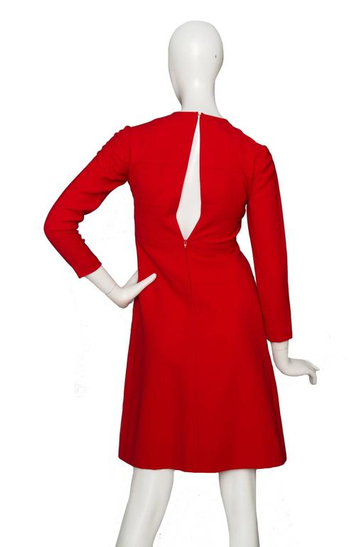 Women's 60s Mod Christian Dior Red Wool A-line Day Dress For Sale
