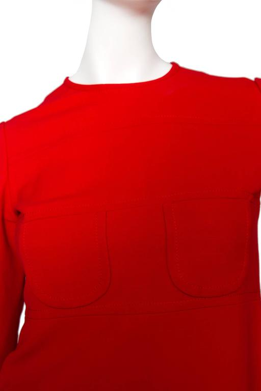 60s Mod Christian Dior Red Wool A-line Day Dress For Sale 3