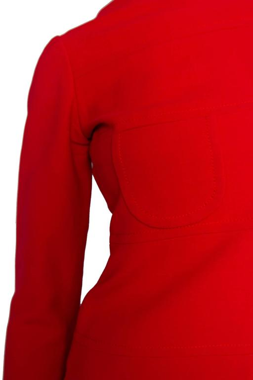 60s Mod Christian Dior Red Wool A-line Day Dress For Sale 4