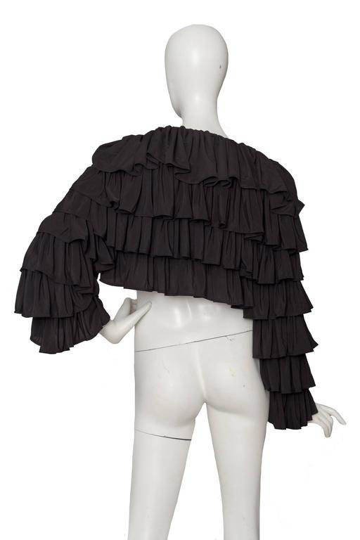 80s Black Norma Kamali Bolero Ruffle Jacket  5
