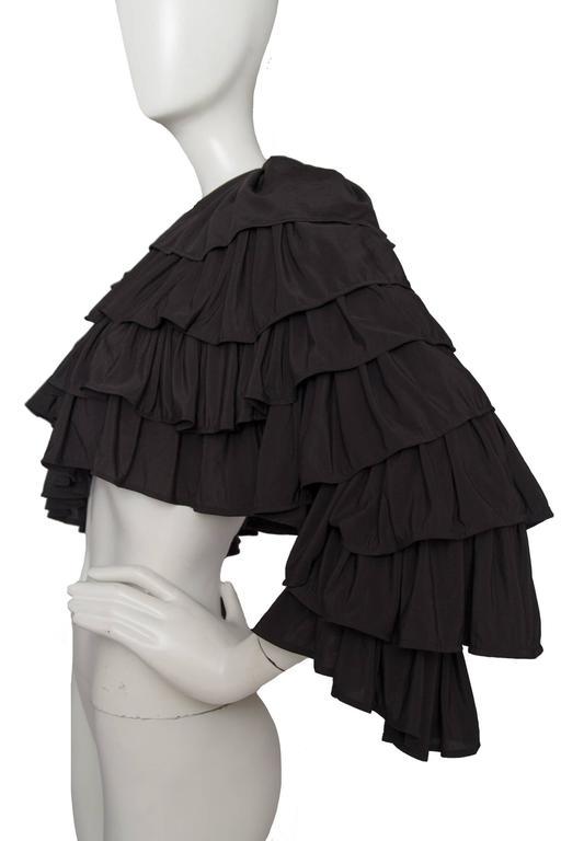 80s Black Norma Kamali Bolero Ruffle Jacket  3