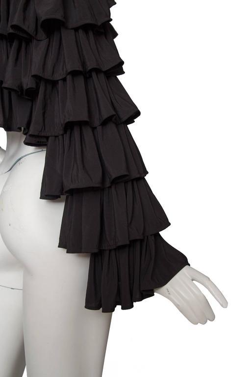 80s Black Norma Kamali Bolero Ruffle Jacket  6